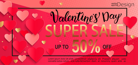 Valentines day super sale gift card with lettering and super gold color half price discount, poster template. Pink abstract background with hearts ornaments. February 14.
