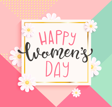 Card for happy womens day with hand drawn lettering in gold square frame on geometric background colors with beautiful white daisies. Vector illustrate template, banner, flyer, invitation, poster. Illustration