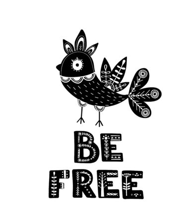 Black and white card with Lettering and Bird in Scandinavian style. Creative poster with animal and phrase. Vector illustration. Çizim