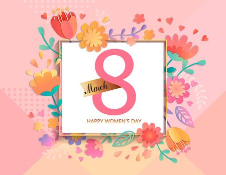 Cartão para o dia das mulheres felizes no quadro quadrado em cores pastel geométricas do fundo com flores bonitas. Modelo de ilustração vetorial, banner, panfleto, convite, cartaz.