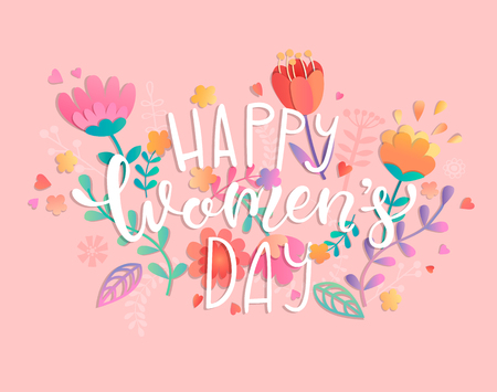 Happy womens day with handdrawn lettering on pink background pastel colors with beautiful flowers. Vector illustration template, banner, flyer, invitation, poster.