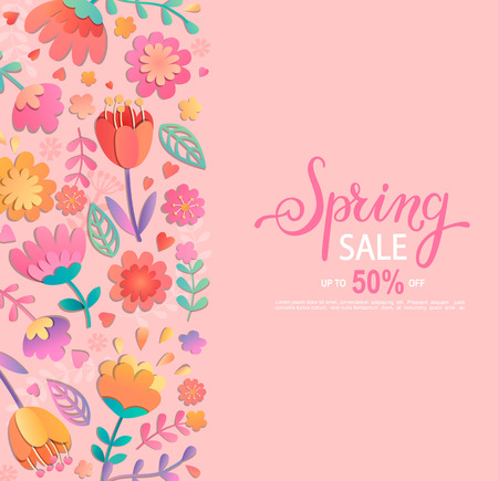 Spring sale banner with lettering on pink background with beautiful flowers on the left side and place for your text on the right. Vector illustration template, card, banner, poster, voucher discount.