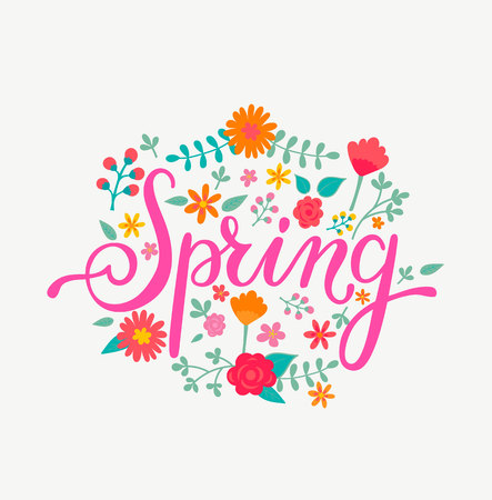 Spring card with handdrawn lettering in floral decorative frame. Vector Illustration for your design. Çizim