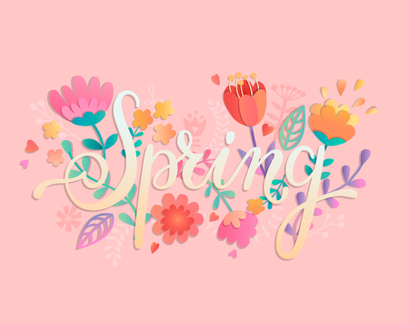 Spring card, handdrawn lettering among the beautiful flowers and leaves. Vector illustration for new season. Stock Illustratie