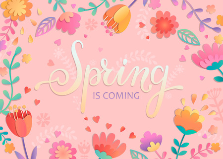 Spring is coming card, handdrawn lettering among the beautiful flowers and leaves on pink background. Vector illustration for new season coming.