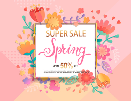 Card for super sale in spring with handdrawn lettering in square frame on geometric background pastel colors with beautiful flowers. Vectores