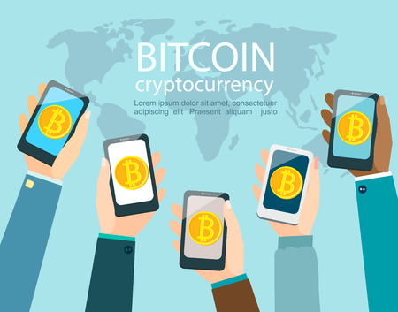 Hands with smartphones with bitcoin symbol.Concept of mobile application with wallet for bitcoin and international global opportunities to exchange altcoins between different people through the phones