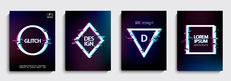 Set of geometric shapes, frames with glitch style on dark background. Illustration