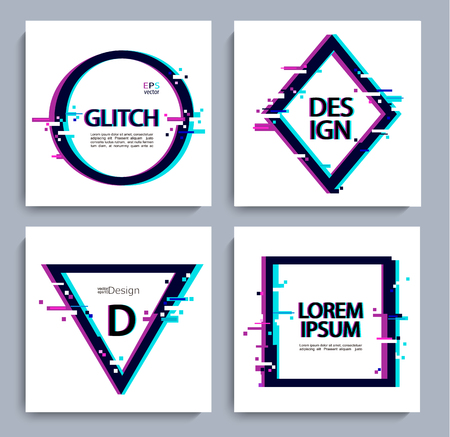 Set of geometric shapes, frame with glitch style. Vector illustration with geometric frames for business and gift cards, invitations, flyers, banners, posters.