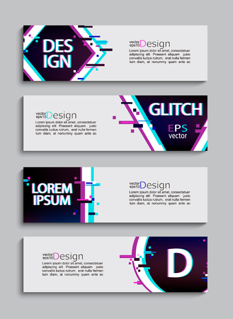 Set of 4 abstract minimal modern trendy banners and flyers with geometric glitch style. Template for your brand, advertise and design. Vector illustration. Ilustracja