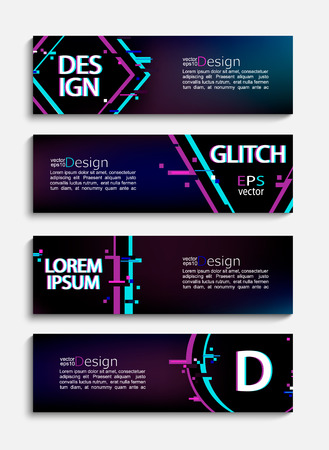 Set of abstract minimal modern trendy banners and flyers with geometric glitch style. Template for your brand, advertise and design. Vector illustration.