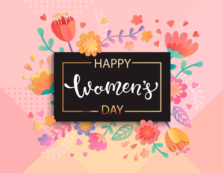 Card for happy womens day in square black frame on geometric background pastel colors with beautiful flowers. Illustration