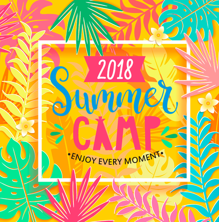 Summer camp 2018 handdrawn lettering in square frame on jungle background with tropical leaves. Vector illustration.