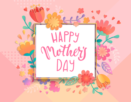 Card for happy mothers day in square frame on geometric background pastel colors with beautiful flowers. Vector illustration template, banner, flyer, invitation, poster.