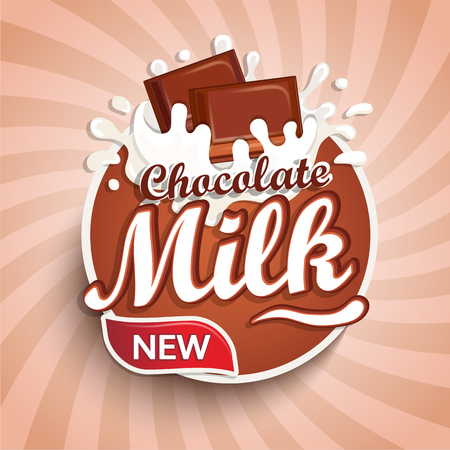 Logo, label of fresh chocolate milk on sunburst background. Milky splashing with drops from falling pieces of delicious chocolate. Vector illustration for your design, packaging and advertising. Stock Illustratie