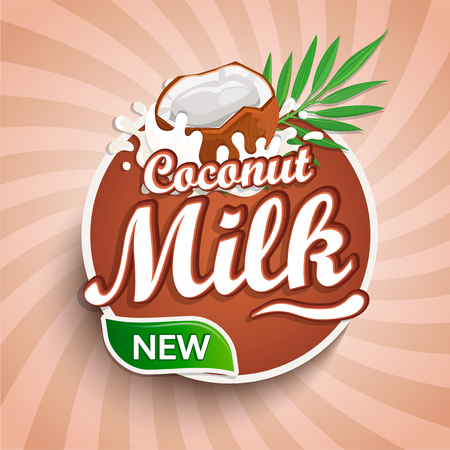 Logo, label of fresh coconut milk on sunburst background. Milky splashing with drops from falling delicious coconut. Vector illustration for your design, packaging and advertising.