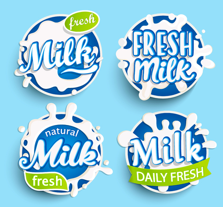Set of different fresh milk logo, labels, splashes and dairy spots for your design, grocery, agriculture store, packaging and advertising. Vector illustration.