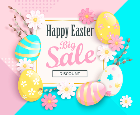 Big Sale card for Happy Easter with beautiful chamomiles and painted eggs on geometric background. Illustration