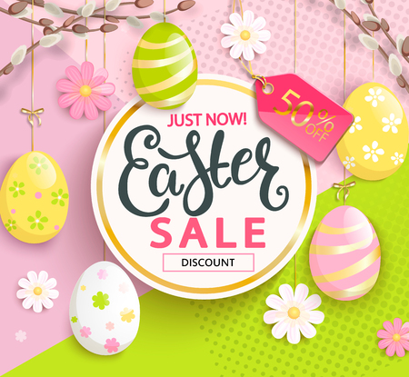 Sale card for Happy Easter with hand drawn lettering in gold circle frame, beautiful chamomiles and painted eggs on geometric background. Illustration