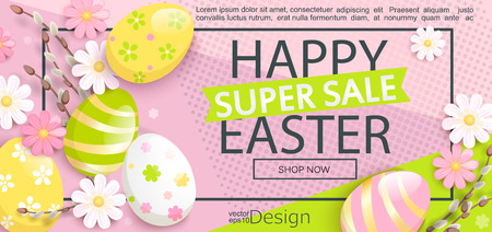 Syper Sale flyer for Happy Easter with beautiful camomiles and painted eggs on geometric background. Stock Illustratie