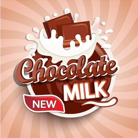 Label of fresh chocolate milk on sunburst background. Milky splashing with drops from falling pieces of delicious chocolate. Vettoriali