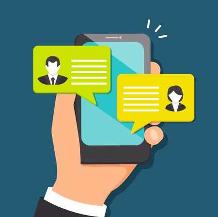 Concept of talking through the messenger in mobile devices.