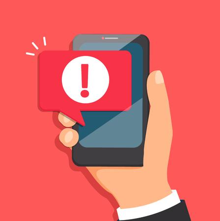 Concepto de notificación de malware o error en el teléfono móvil. Burbuja de mensaje de atención en smartphone. Advertencia de alerta roja de datos de spam, conexión insegura, estafa, virus. Ilustración vectorial