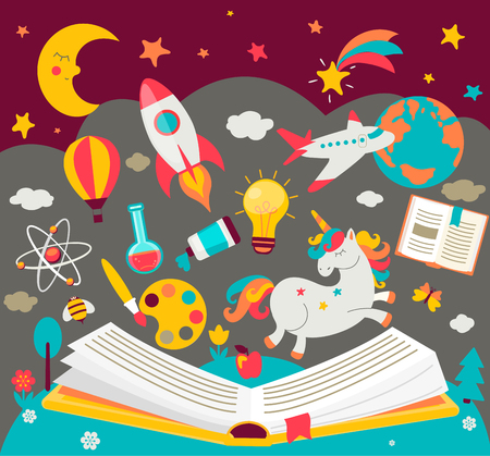 Concept of kids dreams while reading the book.  Open book with many fabulous elements. Vector illustration in flat style. Ilustração