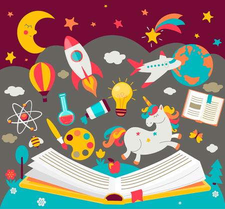 Koncepcja marzeń dzieci podczas czytania książki. Otwarta książka z wieloma bajecznymi elementami. Ilustracja wektorowa w stylu płaski. Ilustracje wektorowe