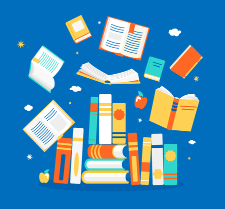 Close and open books in different positions. Knowledge, learning, education, relax and enjoy concept design. Vector illustration in flat style. Stock Illustratie