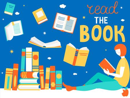 Junges Mädchen liest Buch. Schließen und öffnen Sie Bücher in verschiedenen Positionen. Konzeption von Lernen und Bildung, Entspannung und Genuss. Vektor-Illustration im flachen Stil.