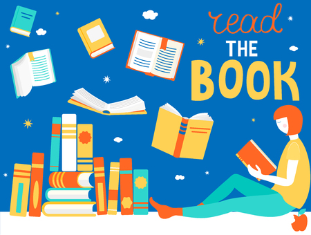 Young girl is Reading book. Close and open books in different positions. Learning and education, relaxation and enjoyment concept design. Vector illustration in flat style. Vettoriali