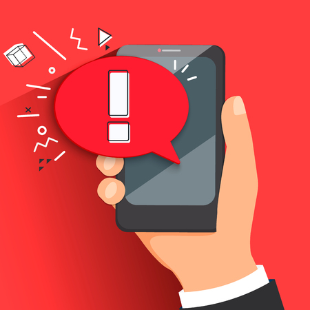 The concept of hazard or error notification in a mobile phone. Bubble with a message to be careful in the smartphone on a red background. Vector illustration.