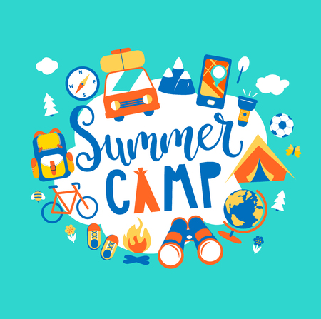 Summer camp concept with handdrawn lettering, Camping and Travelling on holiday with different equipment such as tent, backpack and others. Poster in flat style, vector illustration. Ilustração