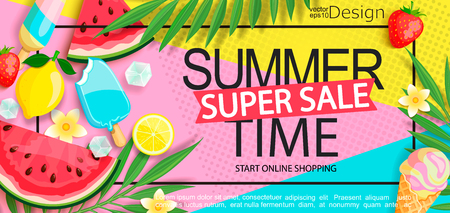 Super sale banner with gourmet food to summer time such as ice cream,watermelon,strawberries.Vector illustration template and banners, wallpaper,flyer,invitation, poster,brochure,voucher discount.