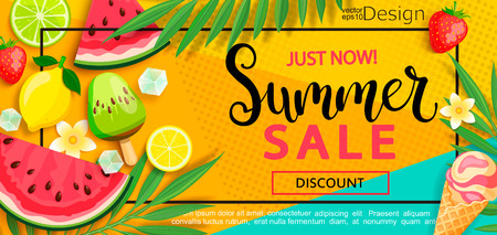 Super sale flyer with gourmet food to summer time such as ice cream,watermelon,strawberries.Vector illustration template and banners, wallpaper,flyer,invitation, poster,brochure,voucher discount.