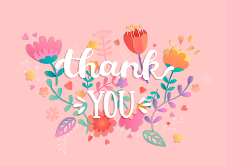 Thank You handwritten inscription with flowers. Vector illustration of hand drawn lettering.