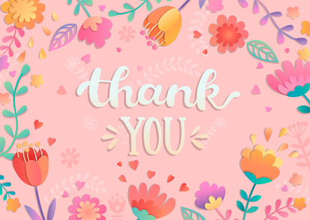 Thank You handwritten lettering surrounded by flowers. Vector illustration of hand drawn lettering.