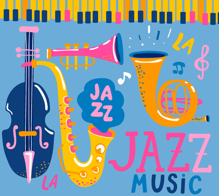 Poster for the jazz musical festival with classic music instruments - cello, cornet, tuba, clarinet, saxophone. Handdrawn lettering. Vector illustration for music events, jazz concerts. Ilustracja