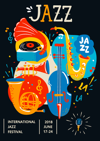 Poster for Jazz. Creative modern banner, flyer for music concerts and festivals. Handdrawn lettering, vector illustration.