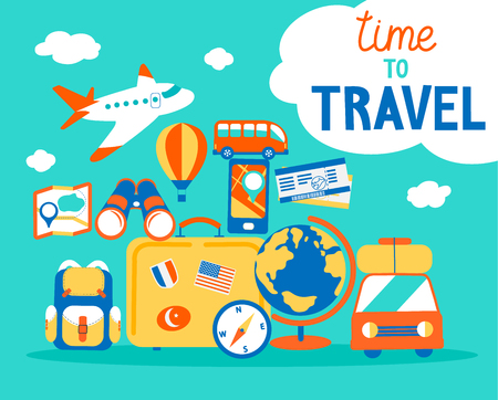 Time to travel concept. Summer vacations with different journey objects. Travelling poster with handdrawn lettering. Vector illustration in flat style. Ilustrace