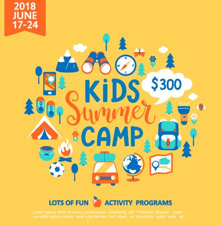 Concept de camp d'été pour enfants avec lettrage dessiné à la main