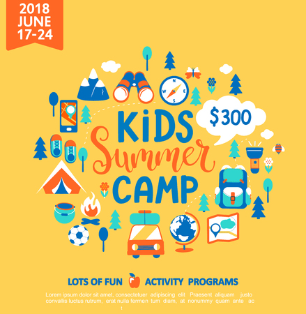 Kids Summer camp concept with handdrawn lettering