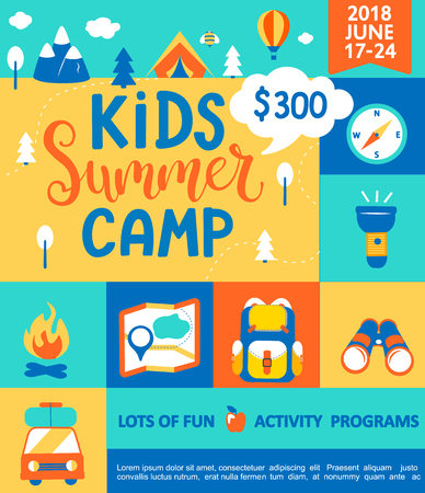 Poster for the Kids Summer camp, concept with handdrawn lettering,Camping and Travelling on holiday with a lot of camping equipment such as tent, backpack and others in flat style,vector illustration. Stock Illustratie