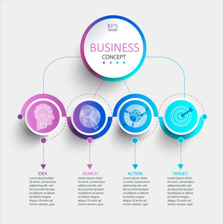 Creative modern infographic with business timeline data visualization.Diagram with 4 steps,options,parts and processes.Template for presentation,workflow layout,banner,web design.Vector illustration.