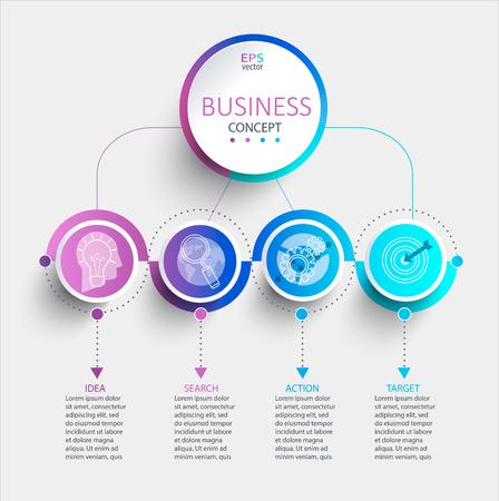 Infographie moderne créative avec visualisation des données de la chronologie de l'entreprise. Diagramme avec 4 étapes, options, pièces et processus. Modèle de présentation, mise en page de flux de travail, bannière, conception de sites Web. Illustration vectorielle.