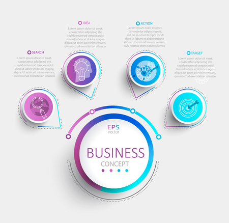 Modern infographic with business timeline data visualization.Template Diagram with 4 steps.Vector illustration.