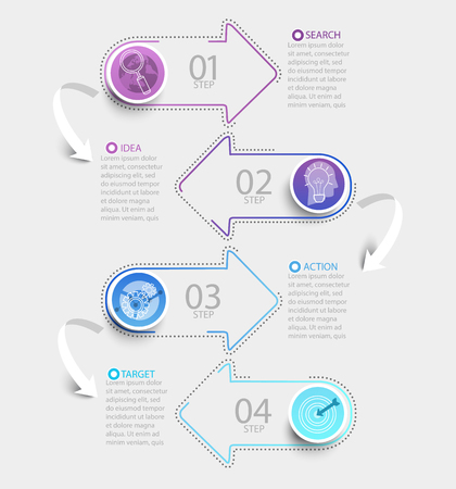 Creative modern infographic with business timeline data visualization.Template Diagram with paper arrows 4 steps. Vector illustration.
