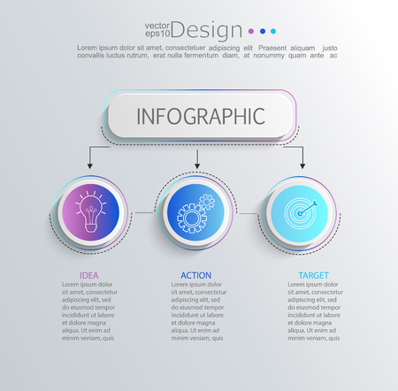 Creative modern infographic with business timeline data visualization.Template Diagram with 3 steps.Vector illustration.