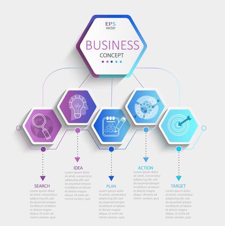 Nowoczesna sześciokątna infografika z wizualizacją danych biznesowych na osi czasu. Schemat szablonu z 5 krokami. Ilustracja wektorowa.